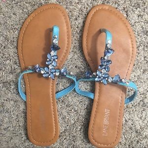 Lane Bryant Aqua Jeweled Sandals Size 10